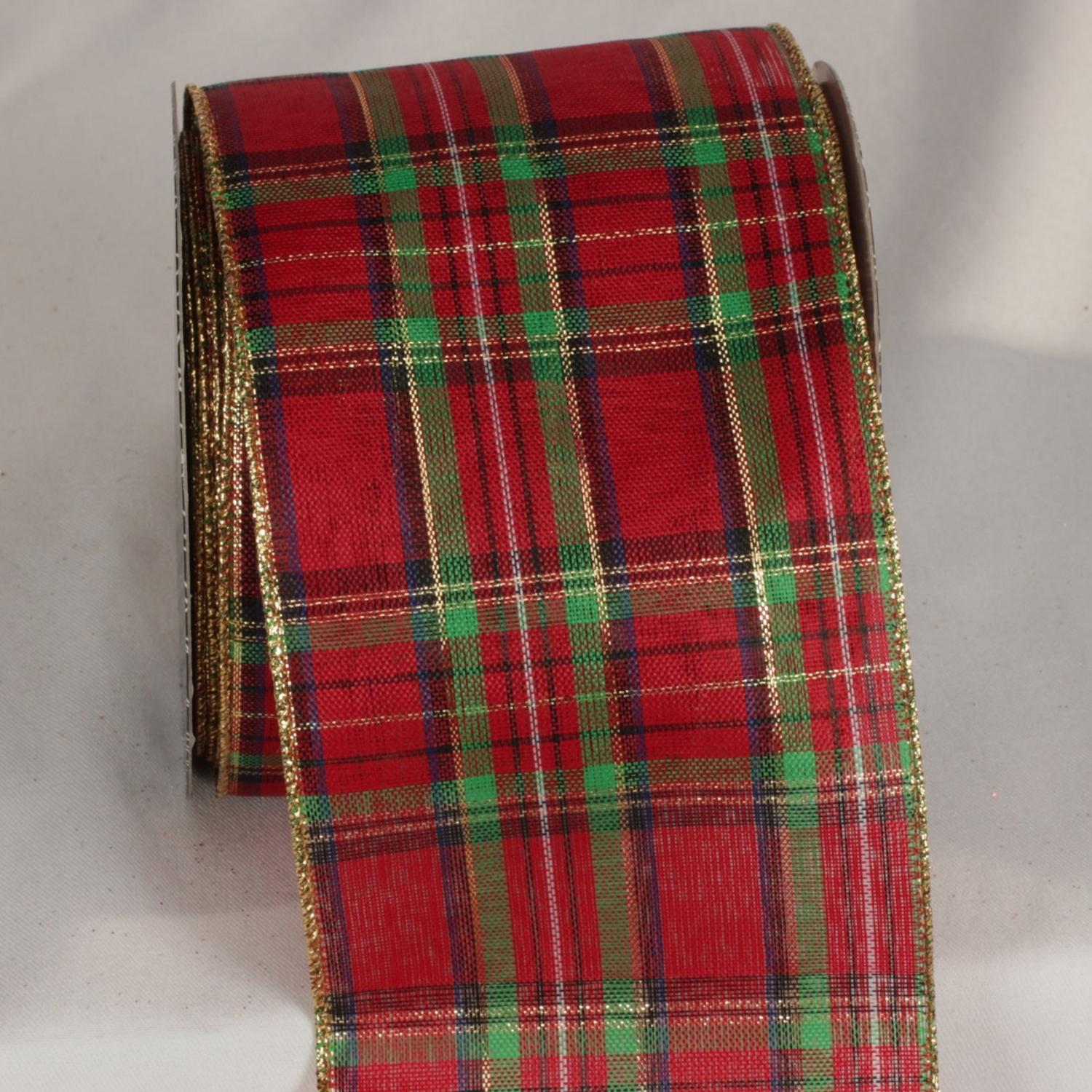 "Shimmering Red, Gold and Green Plaid Tartan Wired Craft Ribbon 4"" x 20 Yards"