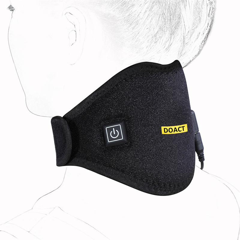 Doact Adjustable Heated Neck Brace With Built-In Heating Pad Hot Cold Therapy Support Neck Wrap Relieve Neck Pain