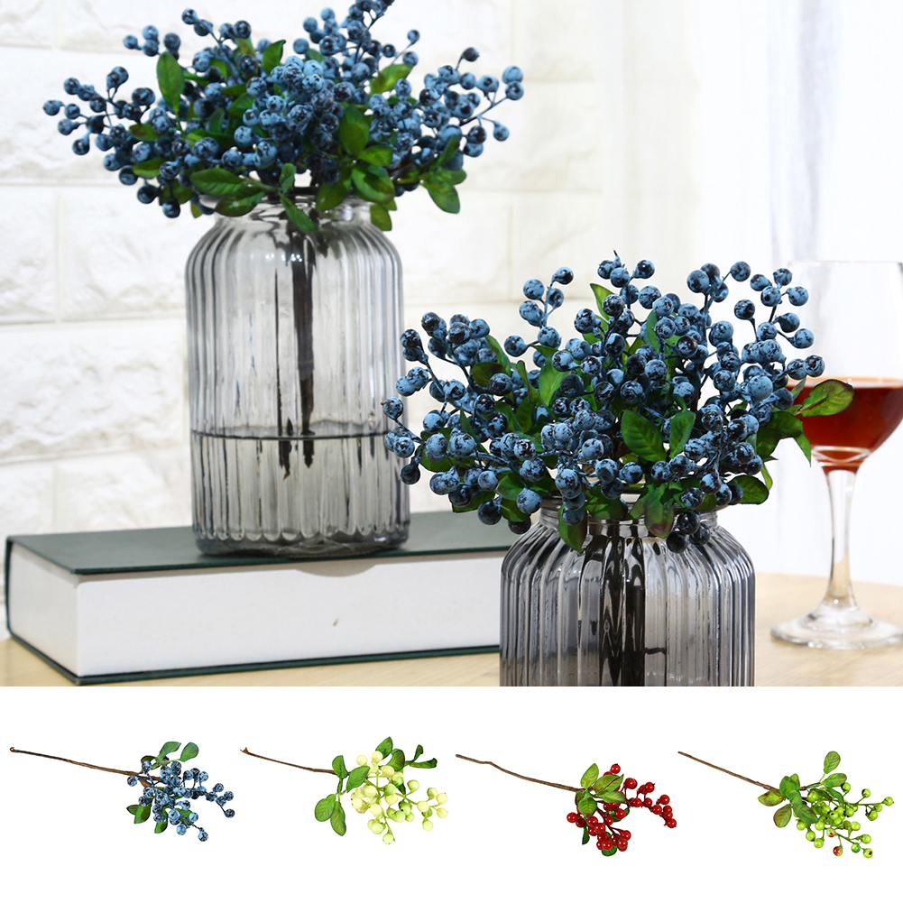 HiCoup 1 Pc Artificial Plastic Fruit Blueberry Green Plant Home Hotel Cafe Decoration