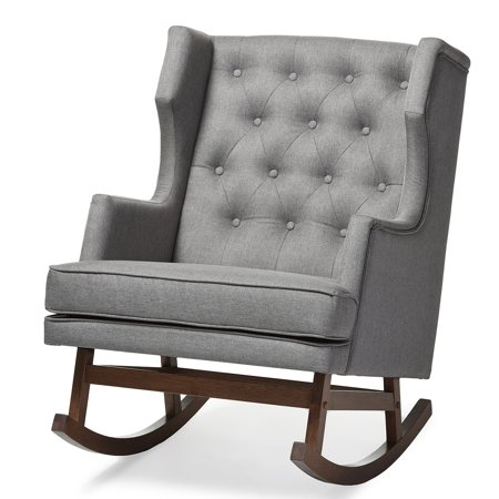 Phenomenal Baxton Studio Iona Mid Century Retro Modern Upholstered Button Tufted Wingback Rocking Chair Multiple Colors Bralicious Painted Fabric Chair Ideas Braliciousco
