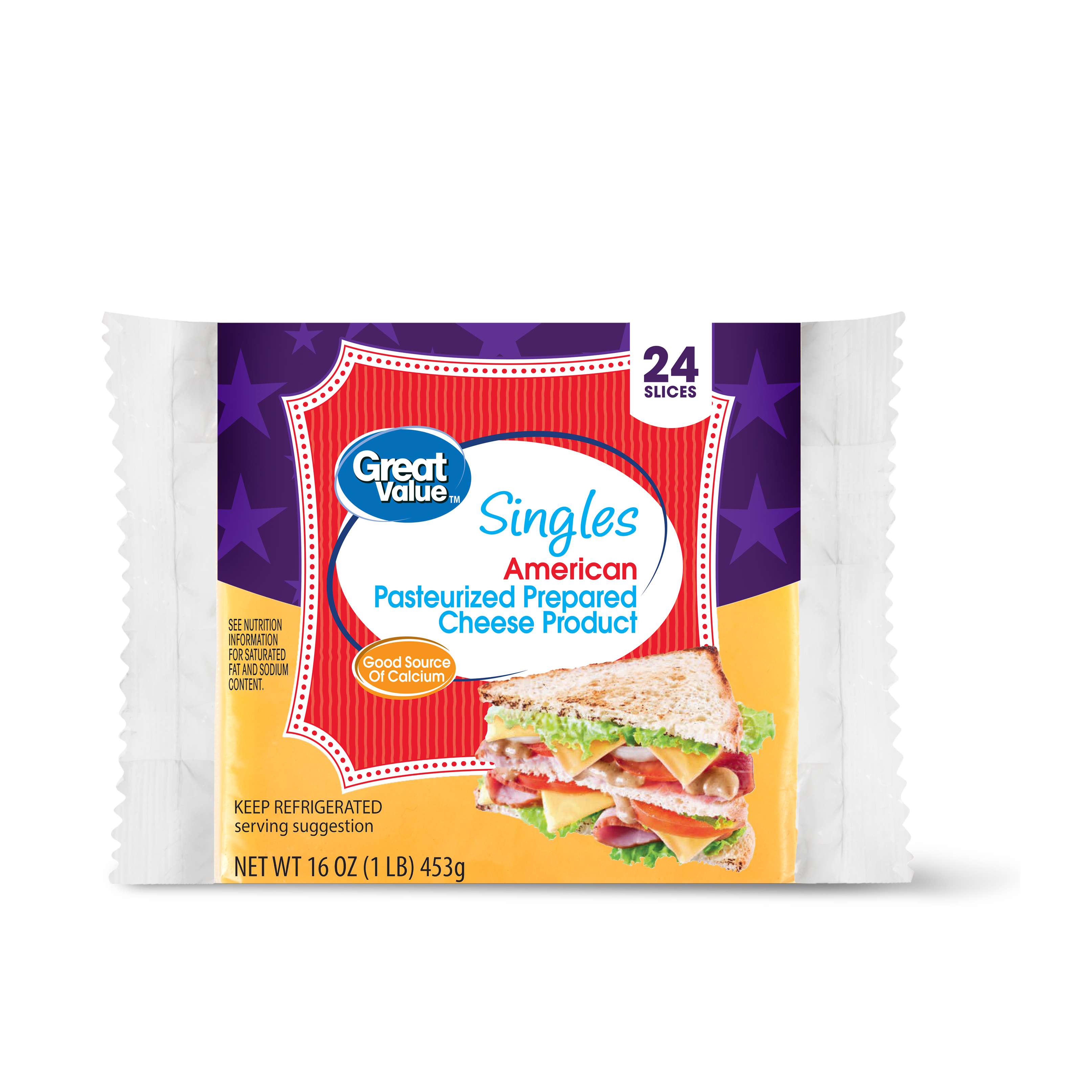 Great Value American Cheese Singles, 16 Oz., 16 Count