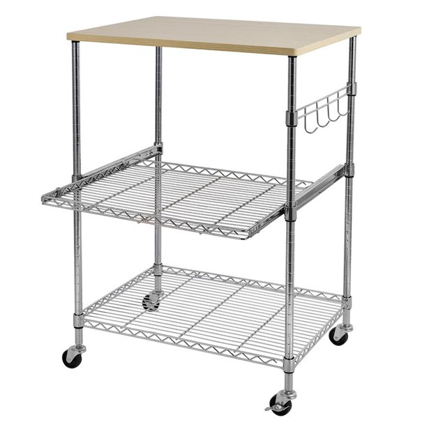 Ktaxon Kitchen Rolling Microwave Cart On Wheels Storage Rack Wood Chrome Walmart Com Walmart Com