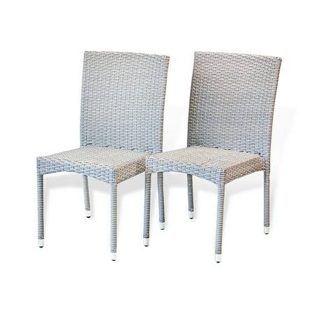 Set of 2 Patio Resin Outdoor Side Chairs Garden Deck Backyard Wicker, Gray ()
