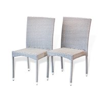 Set of 2 Patio Resin Outdoor Side Chairs Garden Deck Backyard Wicker, Gray