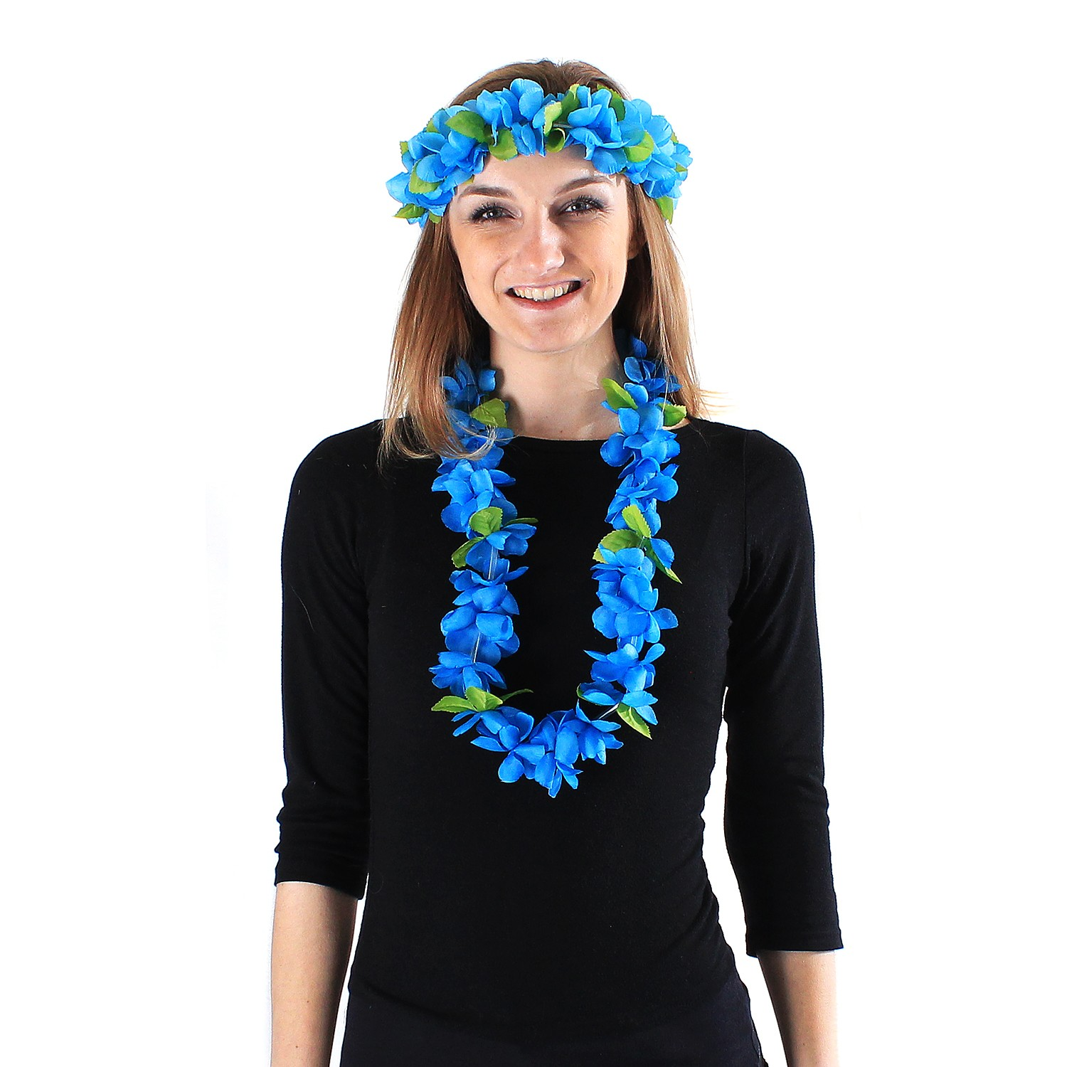 Hawaii Luau Party Artificial Fabric Princess Lei and Head Band Haku Set Red White