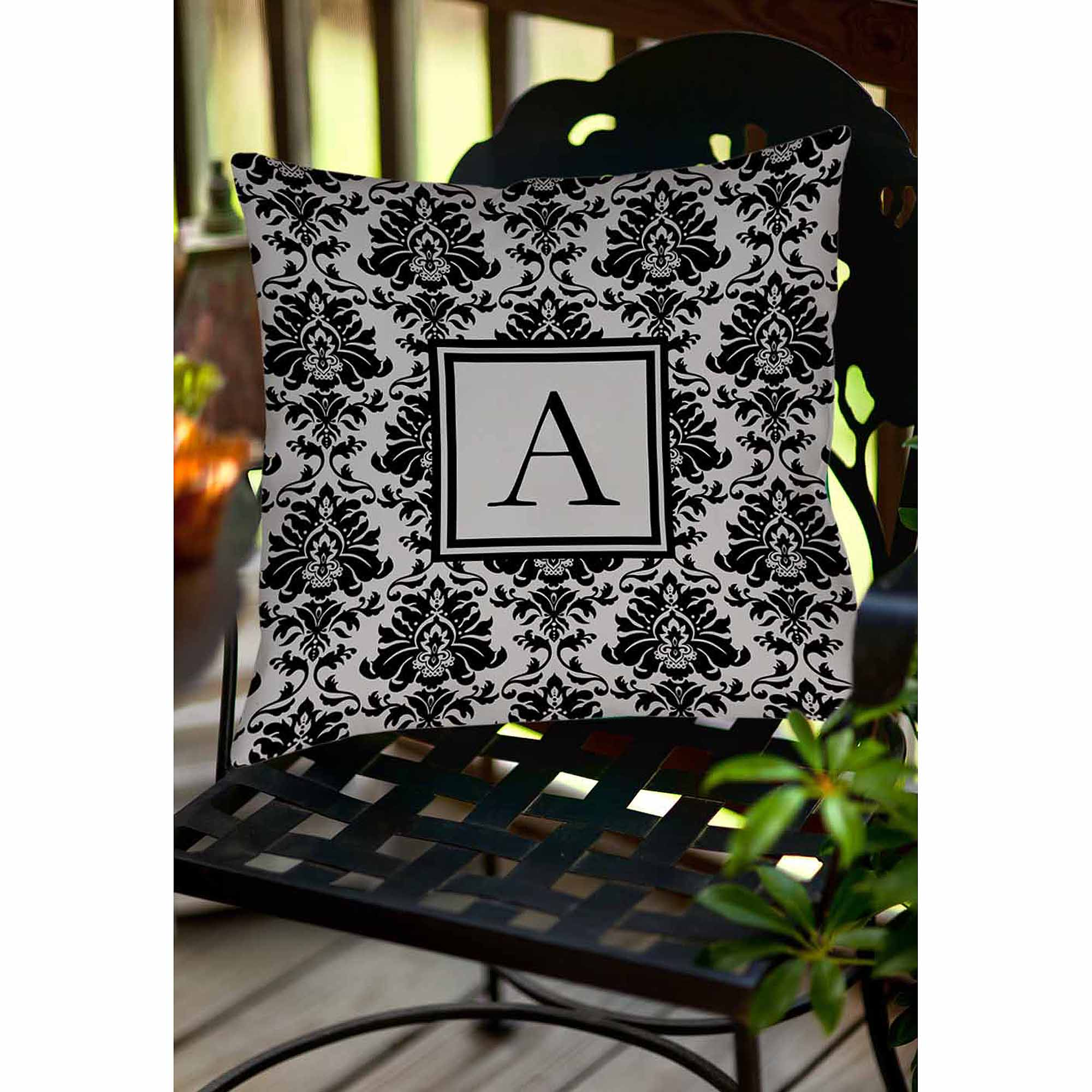 Thumbprintz Damask Monogram Decorative Pillow, Black and Grey