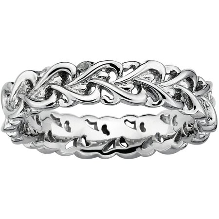 Sterling Silver Polished Intertwined Heart Ring