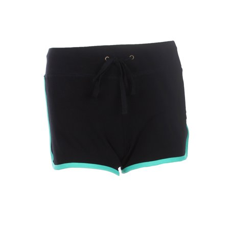 Jade Silk Shorts - Athletic Contrast Color Block Shorts with Waist Drawstring, Black/Jade, Small