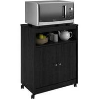 Ameriwood Home Landry Microwave Kitchen Cart, Black