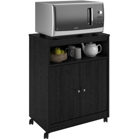 Ameriwood Home Landry Microwave Kitchen Cart, Black