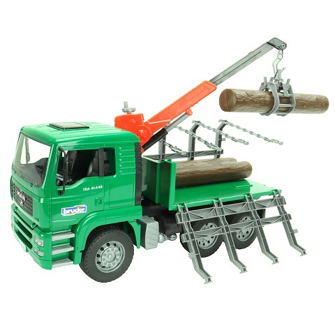Bruder Toys Man Timber Truck with Loading Crane and 3 Trunks by Bruder Trucks