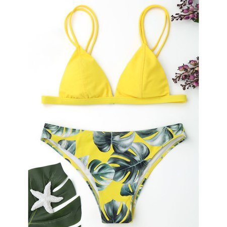 b83a2cf430d69 Women Sexy Bikini Set Push-Up Padded Pure Color Bra + Green Leaves Printed  Bikini Panty Two-piece Swimwear Bathing Suit Swimsuit Beachwear -  Walmart.com