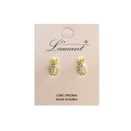 Women Tiny Palm Tree Pineapple Ice Cream CZ Stud Earring E54-One Size-Gold(Pineapple)](Pineapple Coconut Ice Cream)