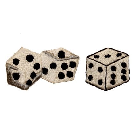ID 0057DE Set of 2 White Dice Casino Vegas Embroidered Iron On Applique - Flaming Dice Patch