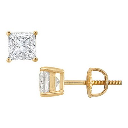 14K Yellow Gold Princess Cut Diamond Stud Earrings 1.50 CT. TW.