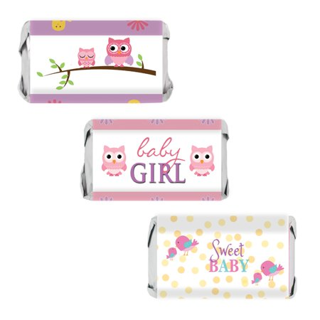Sweet Baby Girl Owl and Tweet Baby Shower Party Favor Stickers for Hershey's Miniatures Bars (Set of 54) (Owls Baby Shower)
