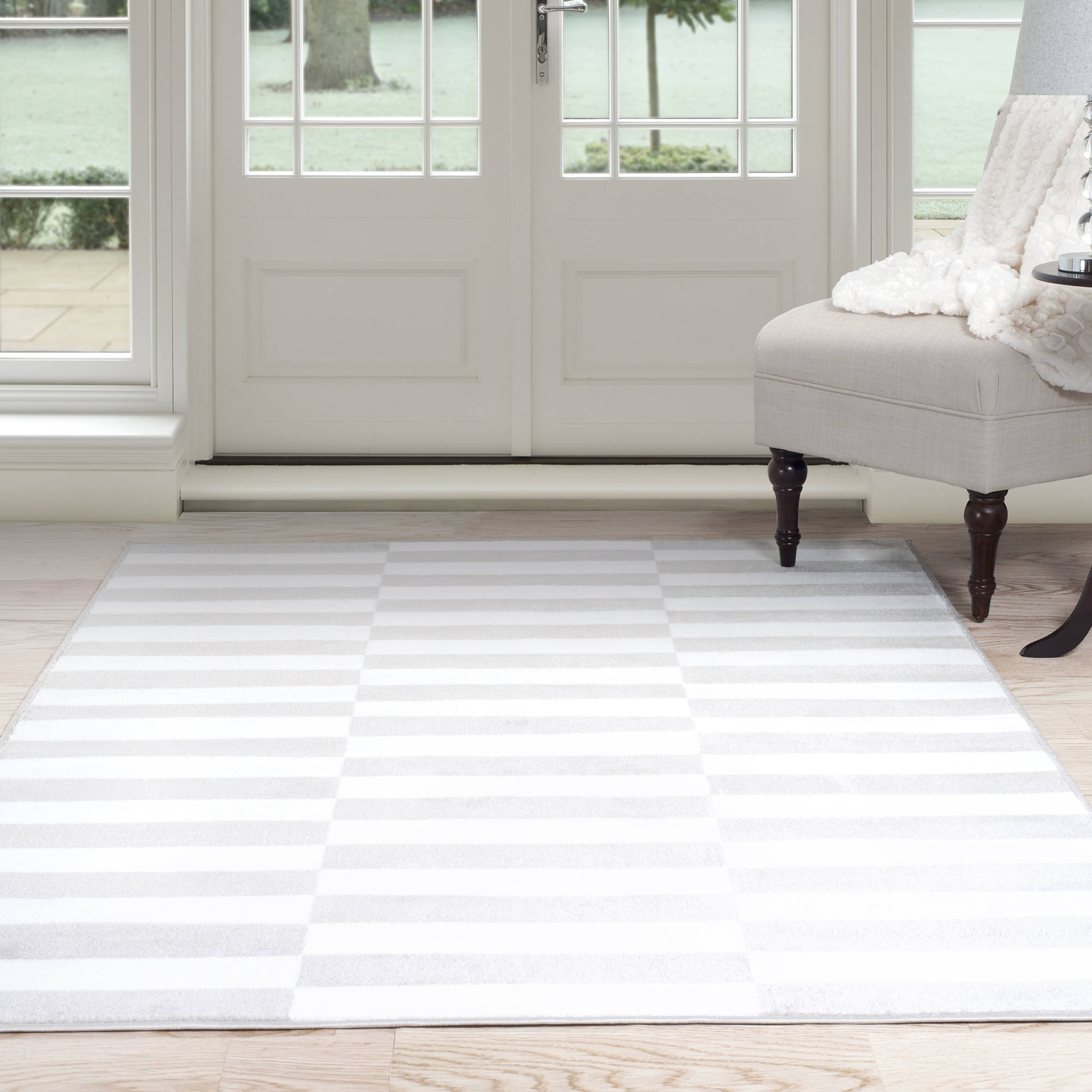 Somerset Home Alternate Stripes Area Rug Grey and White Walmart
