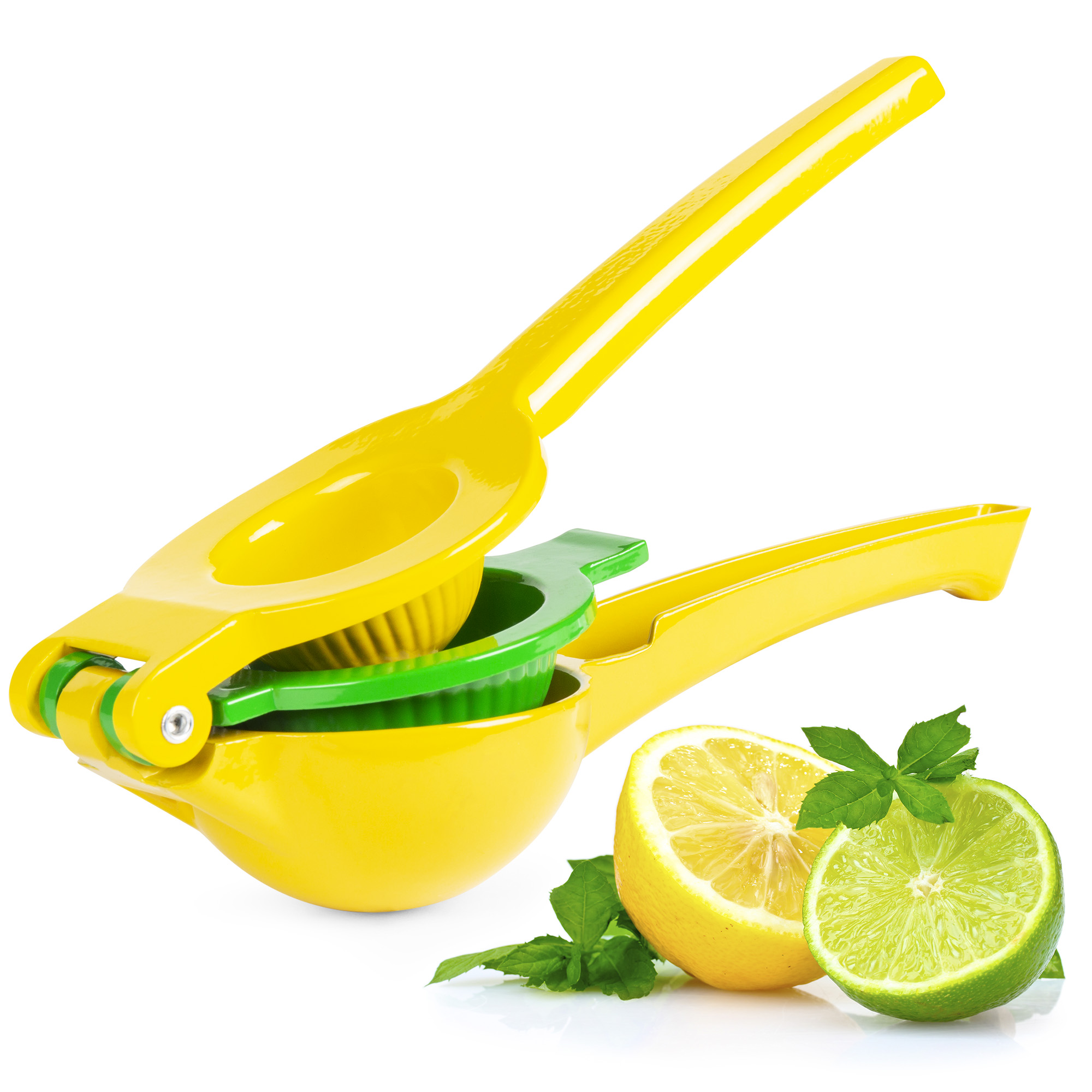 Best Choice Products 2-in-1 Kitchen Bar Manual Heavy-Duty Metal Lemon Lime Citrus Juice Extract Press Squeezer Tool, Dishwasher Safe - Yellow/Green