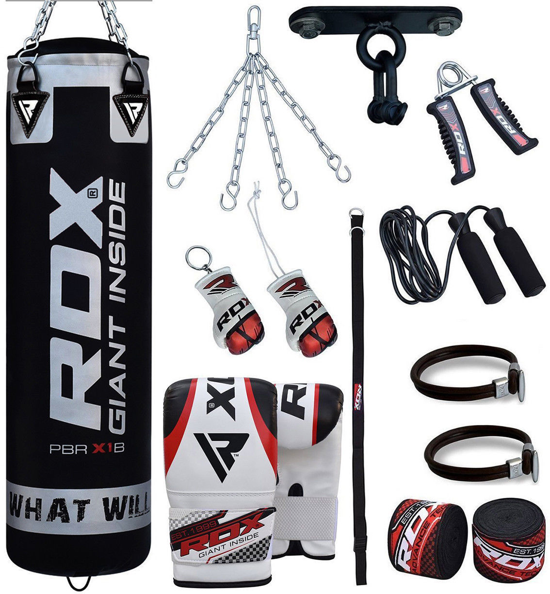RDX Black X1B Punching Bag 13PC Boxing Set With gloves Ceiling Hook Wraps Chain