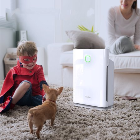 - Finether HEPA Air Purifier with 3 Stage Filtration System, 4 Timers, 3 Fan Speeds, 3 Modes (Sleep/Turbo/Auto), Child Lock, Filter Replace Indicator for Home, Office, Allergies, Asthma, Pets, Smokers