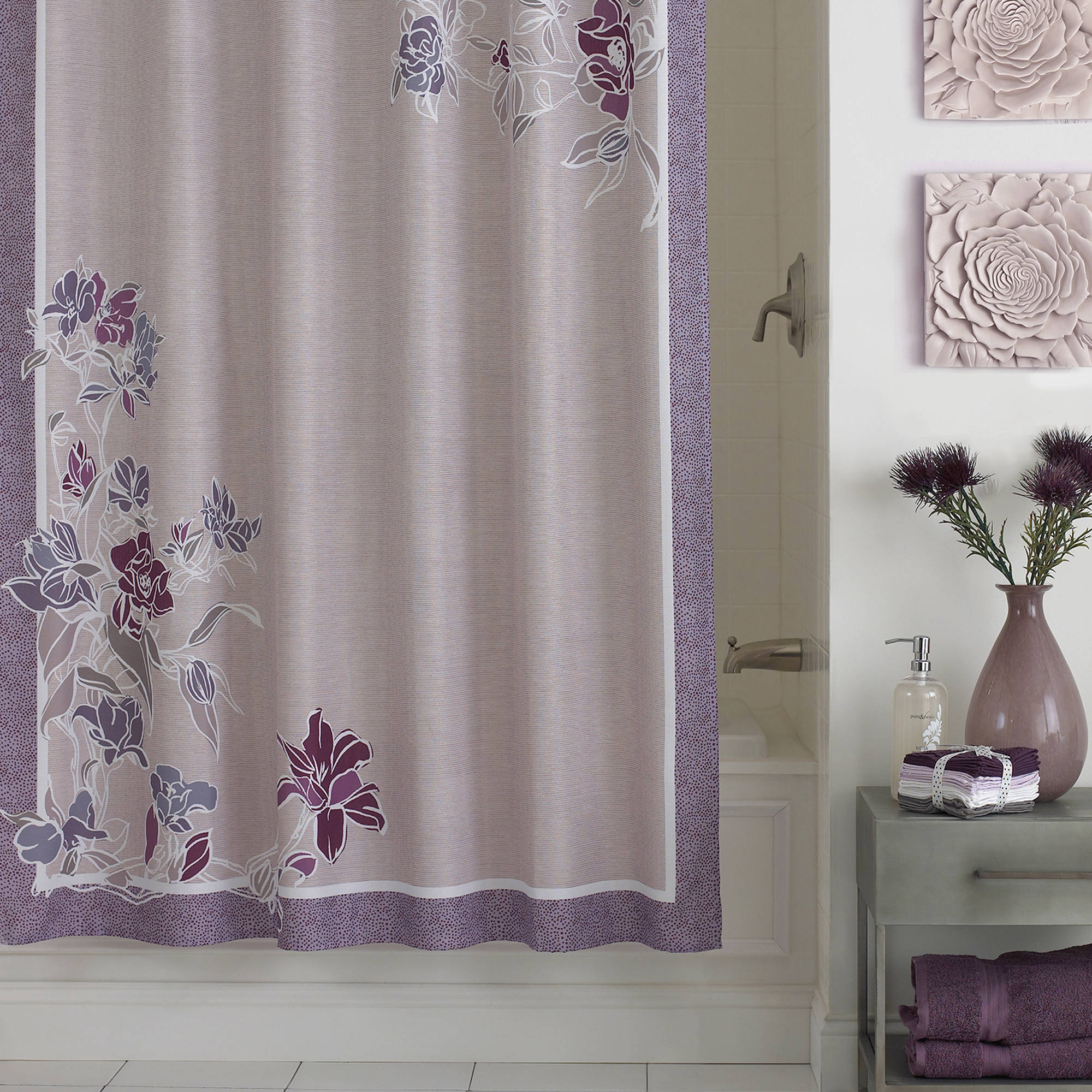 Excell Zara Fabric Shower Curtain, Lavender