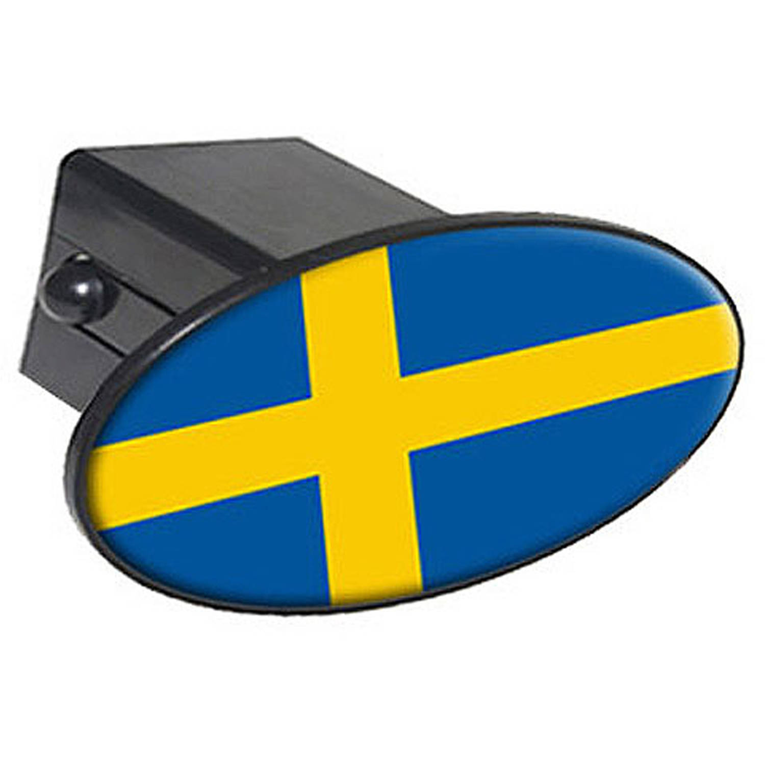 "Sweden Flag - Country 2"" Oval Tow Trailer Hitch Cover Plug Insert"