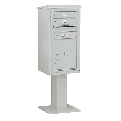Salsbury Industries 4C Pedestal Mailbox 9 Door High Unit Single Column 2 Doors and 1 Parcel Locker