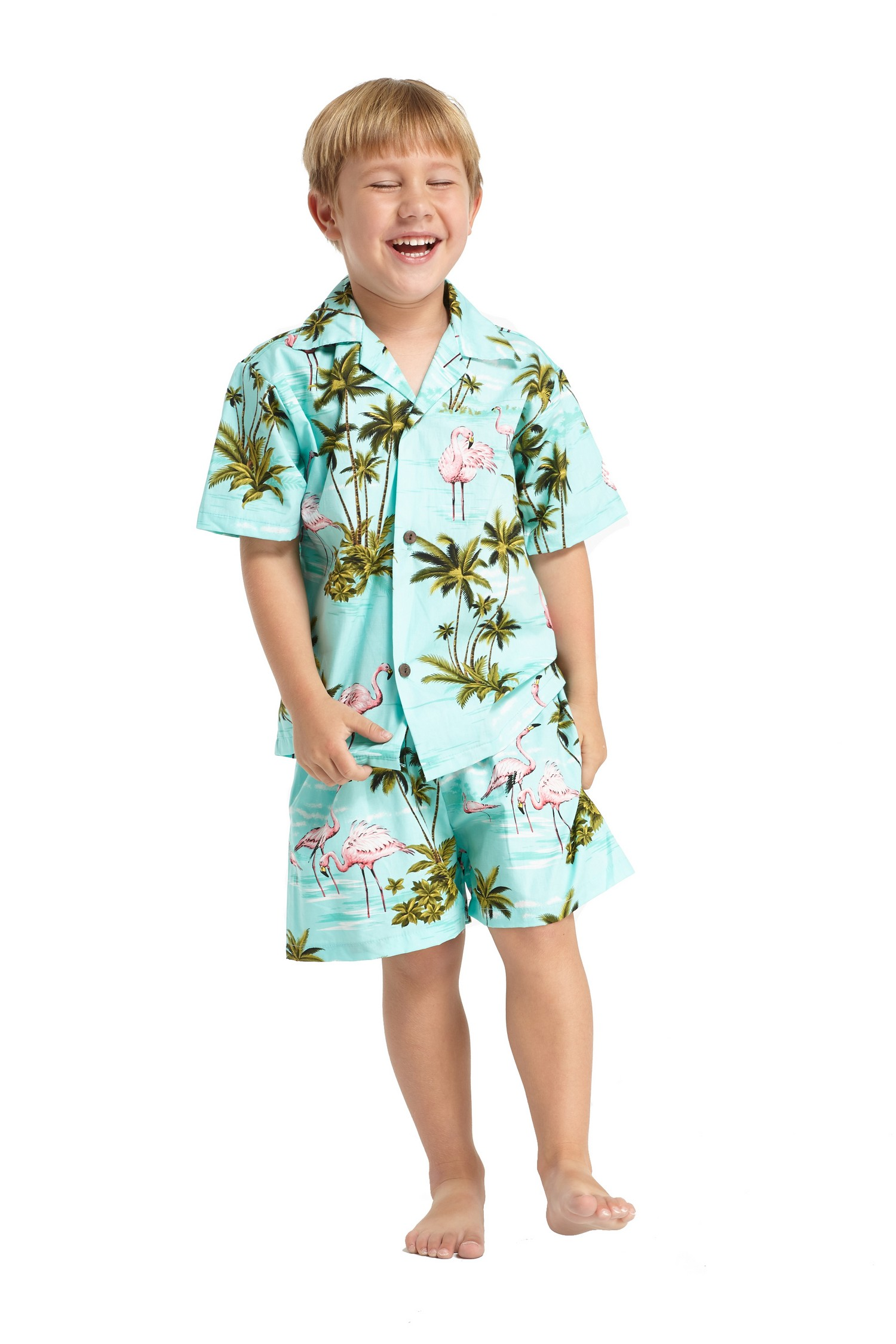 Hawaii Hangover Boy Aloha Luau Shirt Cabana Set in Flamingo in Love