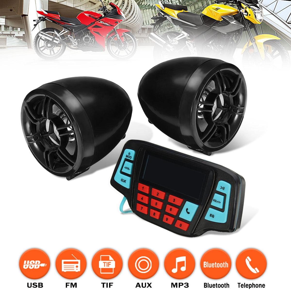 USB TF Bluetooth Motorcycle Handlebar Audio FM Radio System Stereo MP3 Speakers
