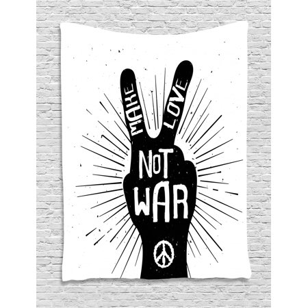 Hippie Tapestry, Grungy Distressed Hand Peace Sign Silhouette with Make  Love Slogan Quote Theme, Wall Hanging for Bedroom Living Room Dorm Decor,  60W ...