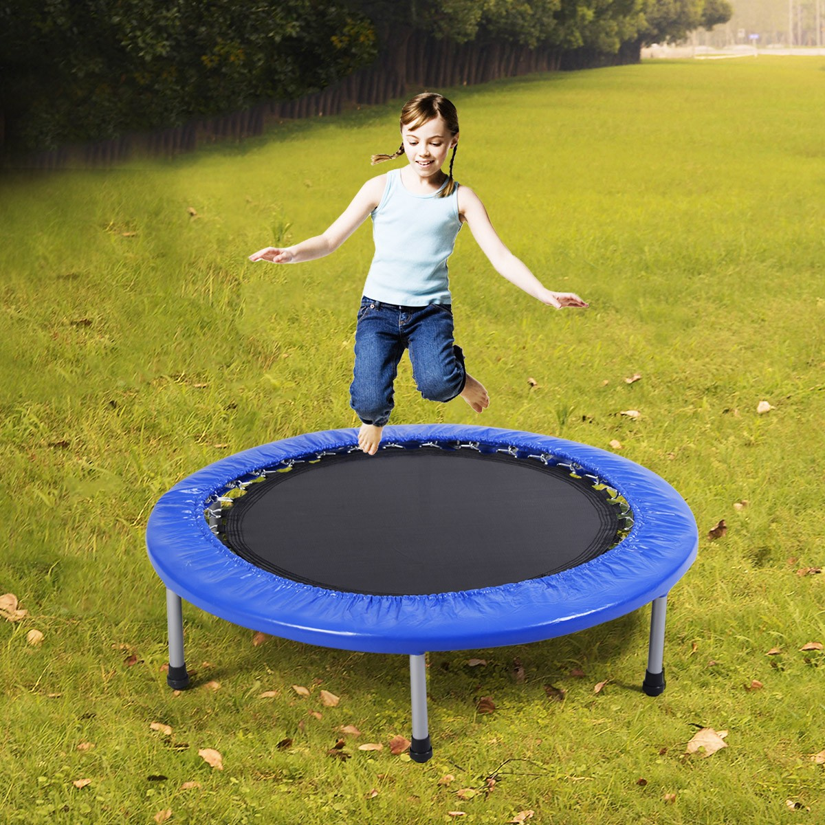 38'' Mini Band Trampoline Safe Elastic Exercise Workout w/ Padding & Springs