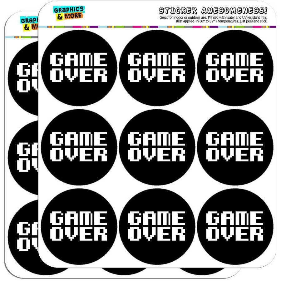"Game Over Gamer Pixel Font Geek 18 2"" Planner Calendar Scrapbooking Crafting Stickers"