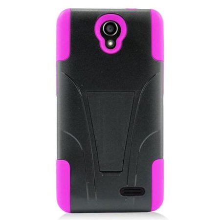 Plastic Dual Stand - Insten Hard Dual Layer Plastic Silicone Case with stand For ZTE Avid Plus/Prestige - Hot Pink