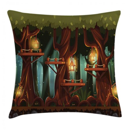 Woodland Faries (Firefly Throw Pillow Cushion Cover, Fairy Forest Woodland with Lanterns and Insects Flashlights Artsy Night, Decorative Square Accent Pillow Case, 24 X 24 Inches, Olive Green Redwood, by)
