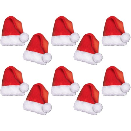Set Of 10 Mini Santa Hat Cutouts Christmas Holiday Party Decorations 5
