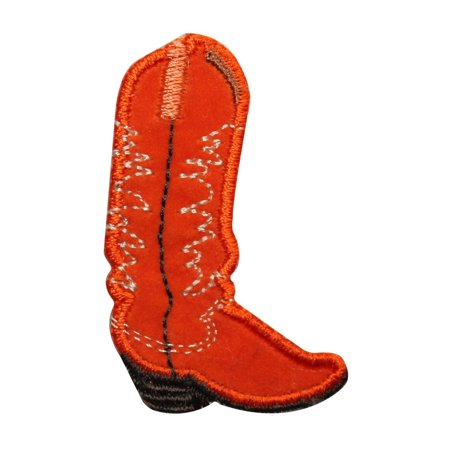 ID 7336 Right Orange Cowboy Boot Patch Western Work Embroidered Iron On - Boot Patch