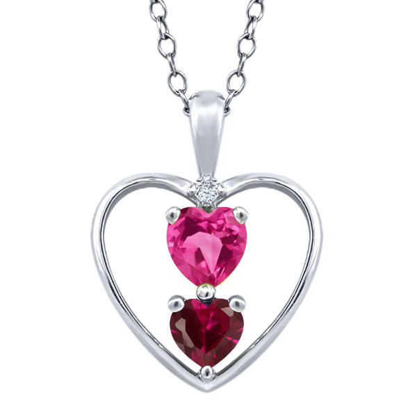 0.91 Ct Heart Shape Pink Mystic Topaz Red Created Ruby 18K White Gold Pendant by