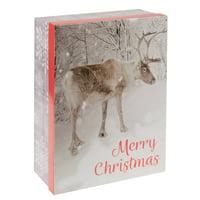Holiday Time Jumbo Gift Box, Merry Christmas Reindeer