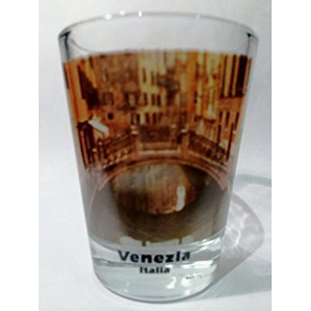 Venice Italy Canal Bridge and Reflections Color Photo Shot Glass ()