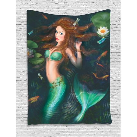 Underwater Tapestry, Fantasy Mermaid In Lake with Lilies Blossom Magical Plants Big Leaves, Wall Hanging for Bedroom Living Room Dorm Decor, Jade Green Brown, by Ambesonne