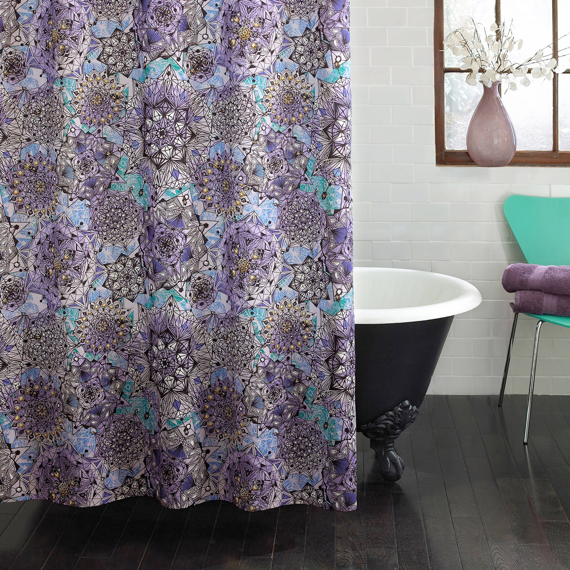 Excell Ode to Geode Fabric Shower Curtain