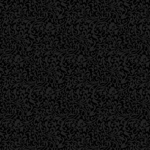 "Black Scroll 44"" Cotton Fabric Print"
