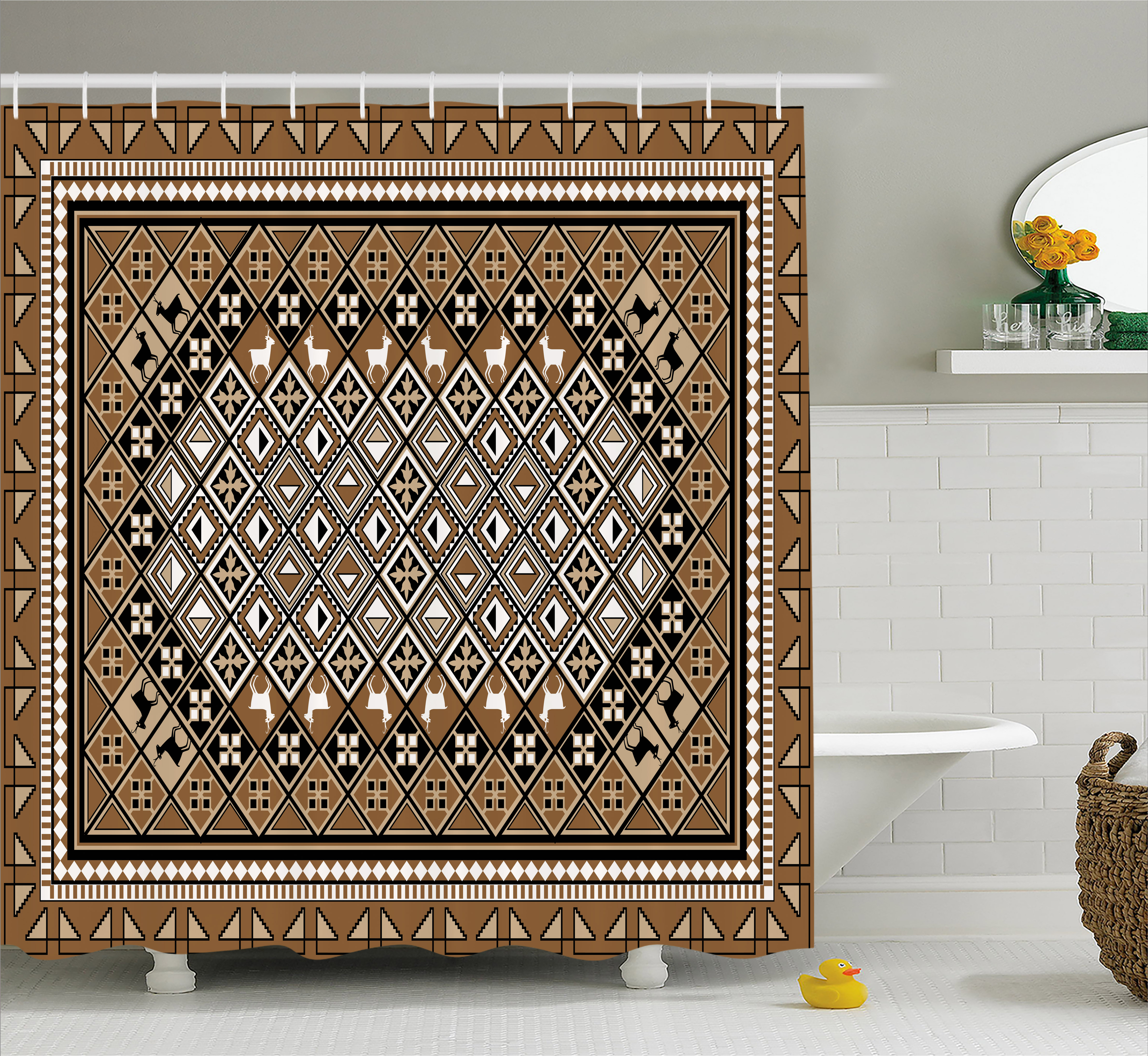 Turkish Pattern Shower Curtain, Geometrical Ethnic Eastern Frame With  Diagonal Checks And Deer, Fabric