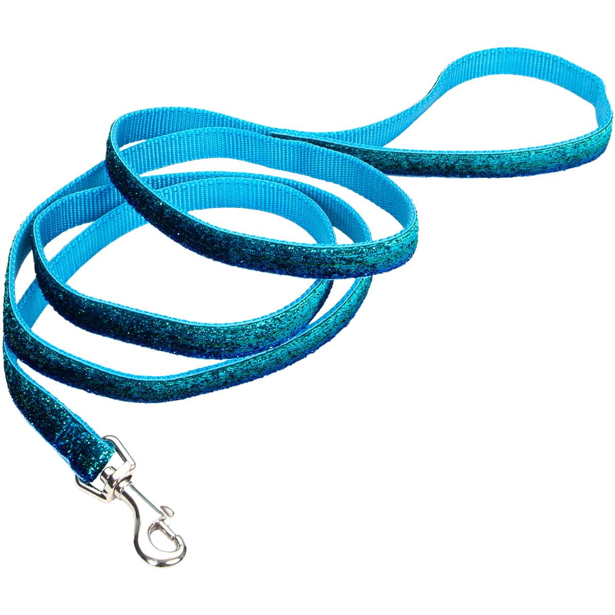 """Pet Attire 5/8"""" Sparkles Dog Leash 6'-Blue"""