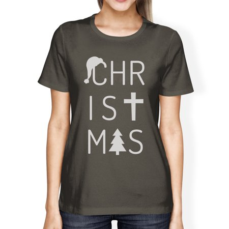 Christmas Letters Womens Dark Grey Graphic T-Shirt Short Sleeve Tee