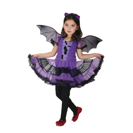 Girls' purple bat costume set with dress and wings, l - Girl Bat Costumes