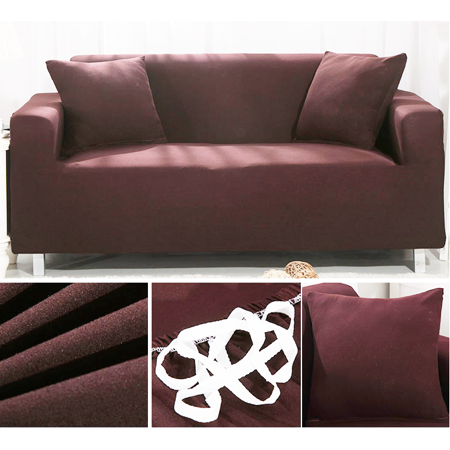 Hurrise Pure Color Stretch Sofa Covers 1 2 3 Seats Fabric