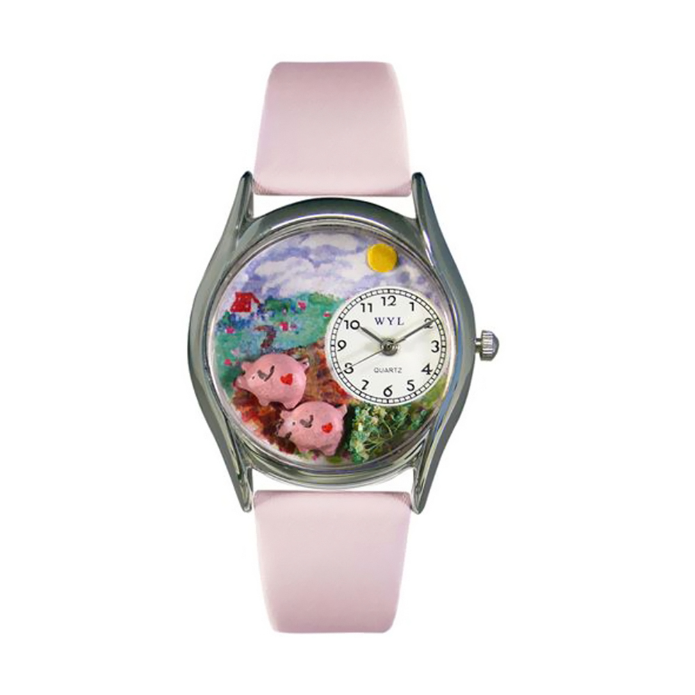 Whimsical Pigs Pink Leather And Silvertone Watch