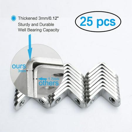 Angle Bracket Stainless Steel Corner Brace Fastener w Screws 25 x 25mm, 25pcs - image 1 of 7