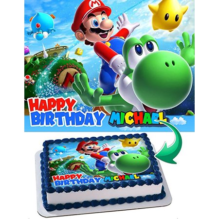 Mario Bros, odyssey Joshi, mario brothers Edible Cake Topper Personalized Birthday 1/2 Size Sheet Decoration Party Birthday Sugar Frosting Transfer Fondant Image for $<!---->